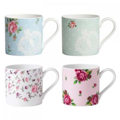 (Royal Albert New Country Roses Modern Mugs, White, Set of 4)