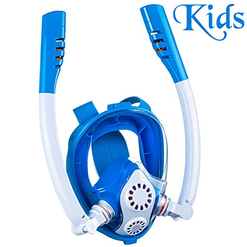 Cevapro Snorkel Mask, Safe K2 Breathing System Full Face Snorkeling Mask for Natural Breath & Safe Snorkeling Anti Leak Anti Fog Diving Mask Dry Snorkel Set for Kids Adult (Blue-White, XS-Child)
