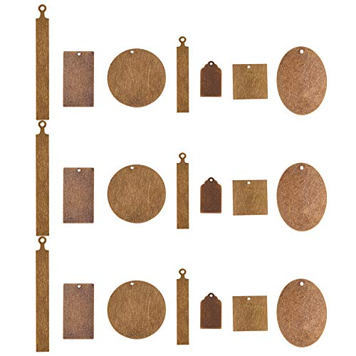 PandaHall Elite 42 Pcs Brass Flat Blank Stamping Tag Pendants Charms 7 Styles for Jewelry Making Antique Bronze