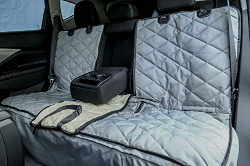 - Plush Paws Custom Dog Seat Cover Center Console Access, Removable Hammock - Grey, Waterproof & Nonslip Silicone Backing for Cars, Trucks & Suv's