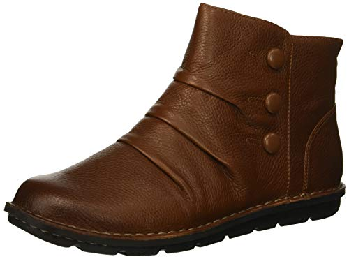 CLARKS Women's Janice Verna Fashion Boot, Dark Tan Leather