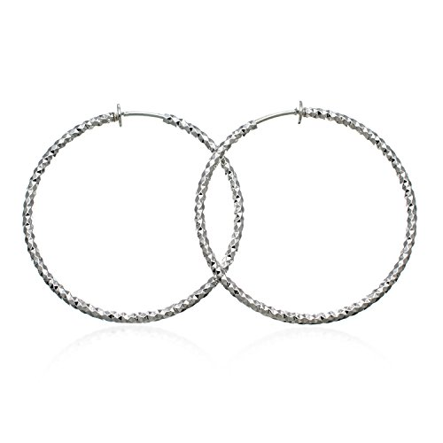 PammyJ Silvertone Hoop Fashion CLIP-ON Earrings 1.5 inches