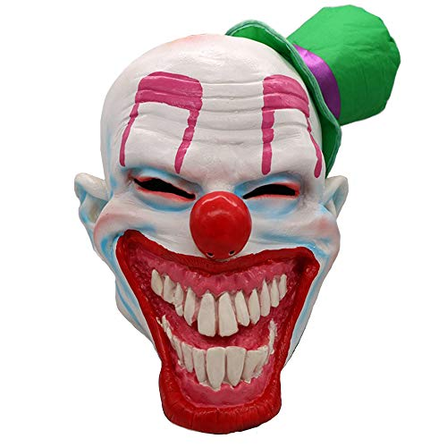 Honfill Halloween Latex Mask, Facetious Mouth with Little Green Hat, Scary Halloween Costume Party Props Masks]()
