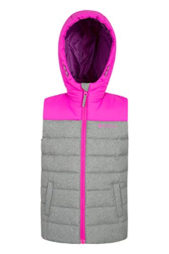 Warehouse Resistant Jacket Childrens Travelling Rocko Kids Filler Textured Spring Body Hoodie Rain Gilet for Adjustable Warmer Pink Mountain Padded Microfibre Water dwx8nd