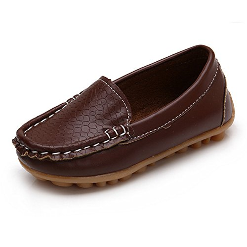 Sneakers Brown Girls (RVROVIC Kids Girls Boys Slip-on Loafers Oxford PU Leather Flats Shoes(Toddler/Little Kid) (6 M Toddler/CN Size 23/14.2cm, Brown))