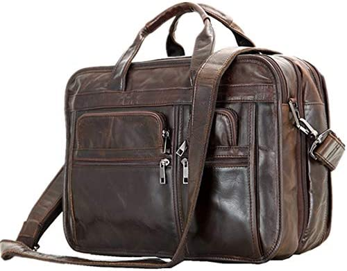 Leather Men Bag,Berchirly Genuine Leather Expandable Laptop Computer Business Briefcase Bags Cowhide Handbag Case