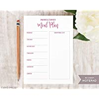 MEAL PLAN NOTEPAD - Personalized Food Planner Grocery Shopping List Stationery/Mom Family Stationary Note Pad