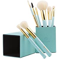 amoore 8 Piece Makeup Brush Set with Holder (Mint Green)