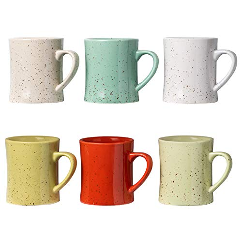 Ceramic Vintage Coffee Mugs - Set of 6 Multicolored Coffee Cups - Retro Mugs Made of Ceramic - Microwave & Dishwasher Safe - Decorative Cups for Your Favourite Drinks - 13.8oz/Mug