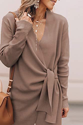 Survêtement V Tops Longues Cou Manteau Femmes Taille Cravate Kaki Manches À SpdxcwwqI7