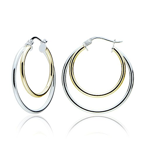 Sterling Silver Two-Tone Double Circle Round-Tube Polished Hoop Earrings, 30mm