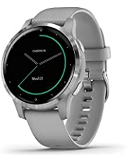 Garmin vívoactive 4S, Smaller-Sized GPS Smartwatch, Features Music, Body Energy Monitoring, Animated Workouts, Pulse Ox Sensors and More, Silver with Gray Band
