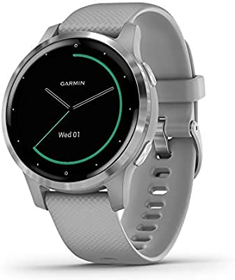 Garmin vívoactive 4, GPS Smartwatch, Features Music, Body Energy Monitoring, Animated Workouts, Pulse Ox Sensors and More, Silver with Gray Band