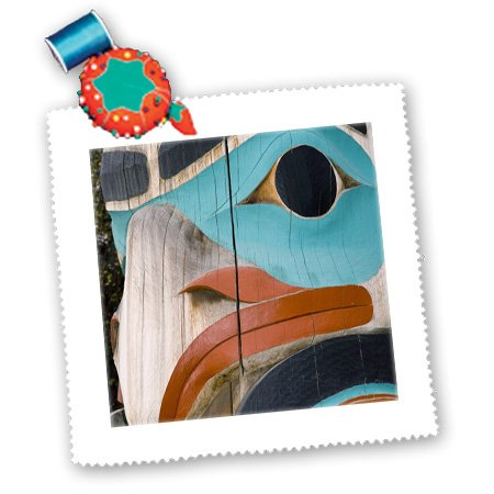 3dRose qs_87327_2 Native American, Totem pole, Anchorage, Alaska - US02 BBA0029 - Bill Bachmann - Quilt Square, 6 by - Anchorage Square