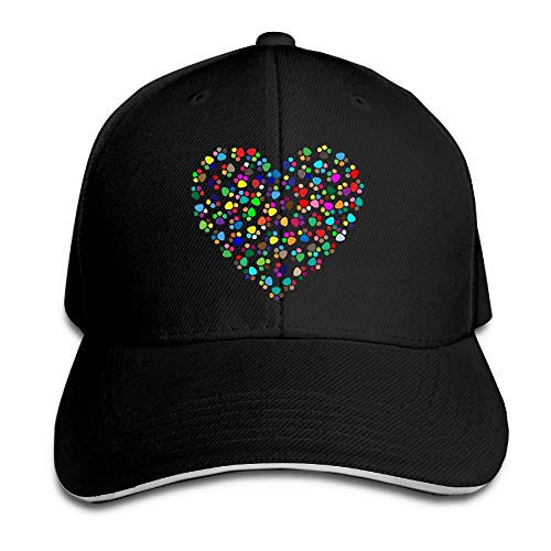 Ted GIen IEHFE Multicolor Cotton Prismatic Paw Prints Heart Adjustable Baseball Cap Hip Hop Casquette Dad Hat for Men Women