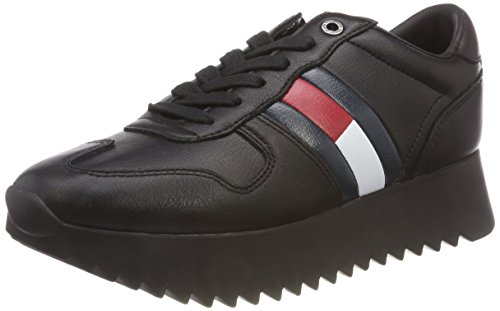 Jeans Sneaker Cleated Mujer Para black Tommy High Zapatillas 990 Negro BxvqtWdwE