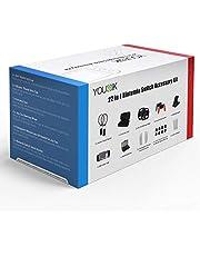 Kit d'Accessoires 22 en 1 pour Nintendo Switch - Younik Étui de Transport/Volant/Raquette/Support/Etui à Cartes de Jeu/Poignée pour Console Nintendo Switch