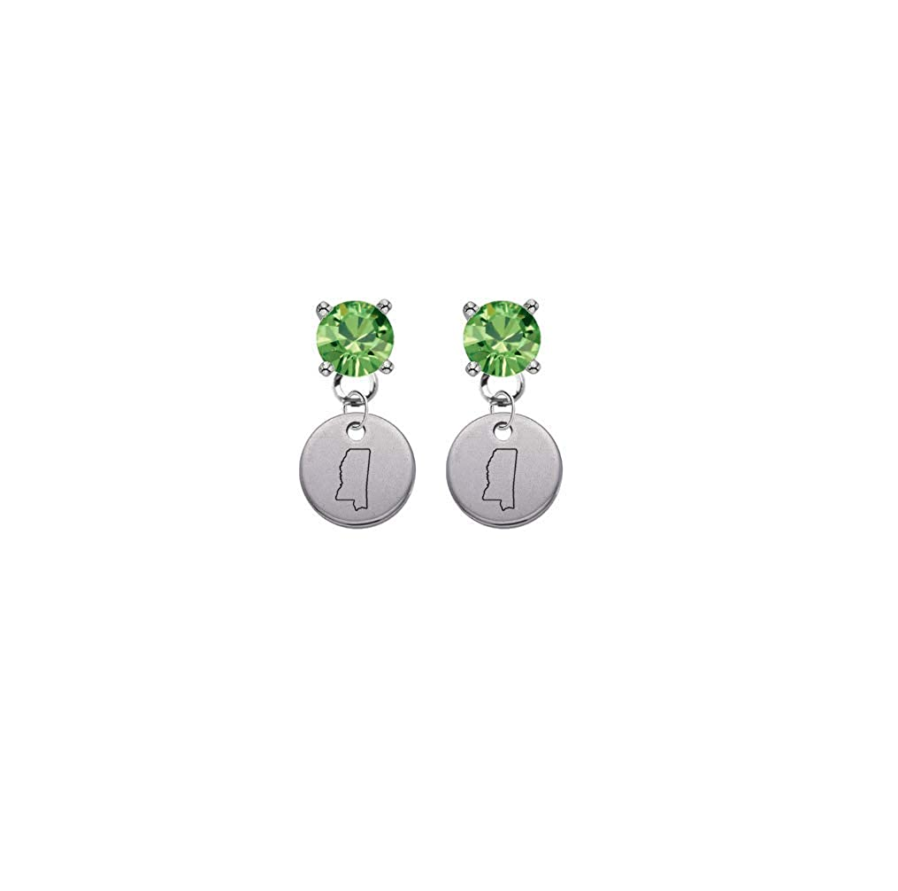 Mississippi State Silhouette Lime Green Crystal Stud Post Dangle Earrings