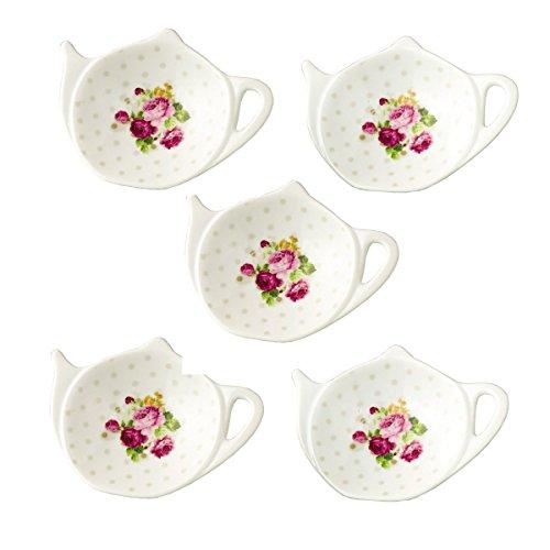 White Porcelain Ceramic Set with Flower Trim Teapot-Shaped Tea Bag Holder Tea Bag Coasters, Spoon Rests; Classic Tea Saucer Seasoning Dish Set (XQX) (Tea For Teapot Bags)