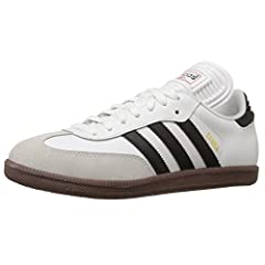 Slightly more athletic than it's Originals brother—with an extended tongue geared for indoor play—the Samba® Classic from adidas® continues to provide that retro vibe in a solid, soccer-ready sneaker! Full grain leather uppers with suede T-t...