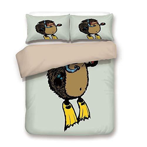 - iPrint Duvet Cover Set,Back of Khaki,Animal,Cartoon Scuba Diver Hedgehog Cute Illustration for Kids Funny Sea Life,Baby Blue Yellow Brown,Decorative 3 Pcs Bedding Set by 2 Pillow Shams,King