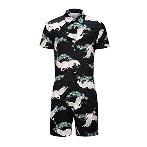 GREFER Casual Mens Sets Summer Animal Printed Short Sleeve T-Shirts Fashion Pants Suit Light Blue