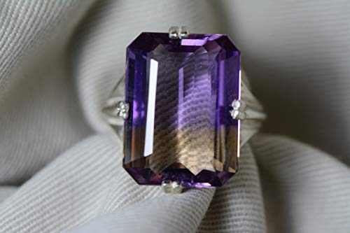 Ametrine Ring, Certified 14.70 Carat Ametrine Solitaire Statement Piece Appraised At 1,100.00 Sterling Silver, Natural Purple Yellow, Real