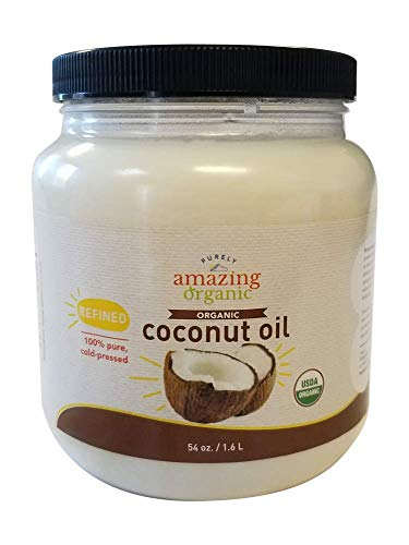 Purely Amazing Organics - Certified Organic Refined Coconut Oil (54 Ounce) Non-GMO Cold Pressed, Great for Skin, Hair and Cooking (Refined Expeller Pressed Coconut Oil For Skin)