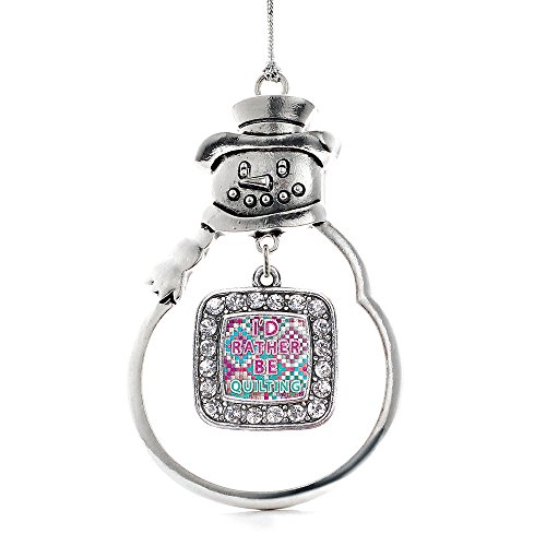 Inspired Silver - I'd Rather Be Quilting Charm Ornament - Silver Square Charm Snowman Ornament with Cubic Zirconia Jewelry