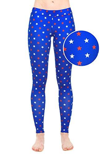 Tipsy Elves Women's USA Patriotic American Flag Leggings Pants (Medium, Red & White Stars)
