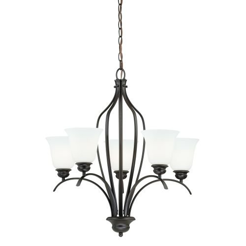 Vaxcel H0085 Darby 5-Light Chandelier, 26″ x 26″ x 27″, New Bronze For Sale