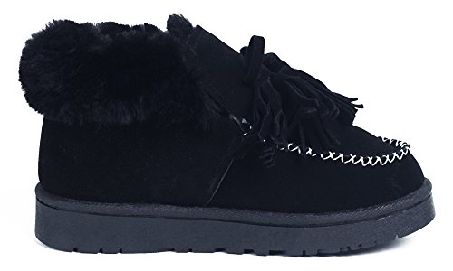 Plano Bota Nieve Mocasines Botas Shoes Invierno Impermeable AgeeMi Mujeres Negro 708aa