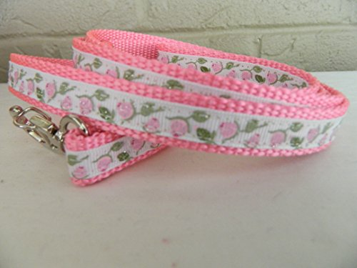 Schmoopsie Couture Pink Roses on White Dog Leash (5/8