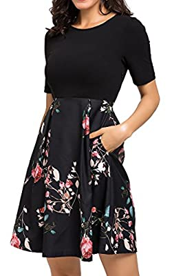 Zevrez Women's Casual Floral Short Sleeve with Pocket Puffy Swing Party Dress