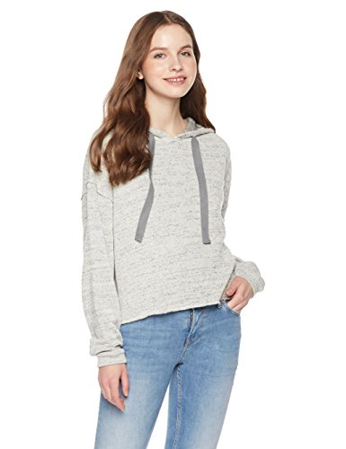 Boxy Fashion (Something For Everyone Women's Raw Cut Cropped Hoodie L Grey)