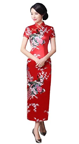 KaWaYi Womens Stand Collar Satin Printing Vintage Party Costume Fit Cheong-sam Dresses AS2 Small