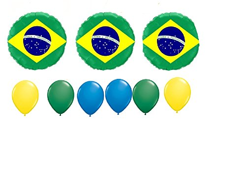 9 pc BALLOON set BRAZIL flag PARTY birthday FAVORS gift DECORATION international day SCHOOL