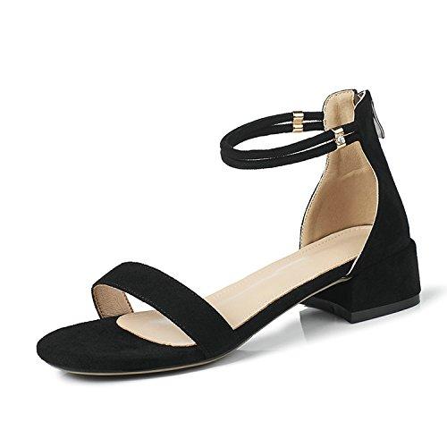 Special-Shop Sandals Woman Women Shoes Platform Buckle Heel Casual Round Toe Women Sandals,Negro,8