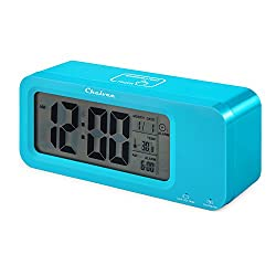 Alarm Clock, Time Date Temperature Display, Snooze, 3 Groups Alarm Time, Weekday Alarm Settings, Built-in Rechargeable Lithium Battery Operated (Blue)