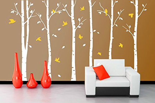 Yanqiao PVC Removable Wall Decal Birch Tree Wall Decals for Nursery Wall Stickers Living Room (Outside Decorating Ideas)