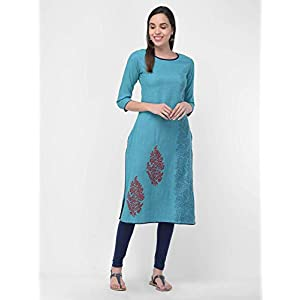 Rayon 2 Tone Hand Block Printed & Trim Work Long Kurtas