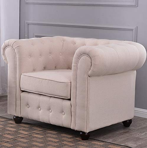 - Hebel Classic Accent Tufted Large Chair Fabric Linen Club Round Armrest (Beige Gray) | Model CCNTCHR - 515 |