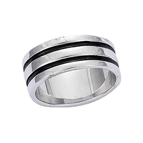 So Chic Jewels - 925 Sterling Silver 2 Black Stripes Band Ring - Size 11.5