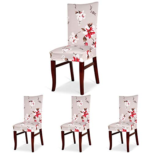 - CosyVie Super Fit Universal Stretch Chair Covers for Dining Chairs Removable Washable Slipcovers for Living Room Chairs Set of 4 Pcs (New Printing Style B)
