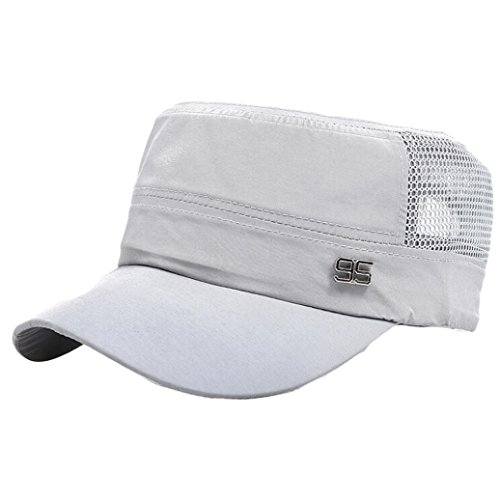 Men's Cadet Army Cap Hat Iuhan Basic Everyday Military Style Hat Outdoor Plain Vintage Army Military Cadet Style Cap Hat Adjustable for Women Men (White)