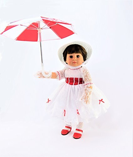Mary Poppins Inspired Dress | Includes Dress, Lace Gloves, Umbrella & Hat | for 18 Inch Dolls #383