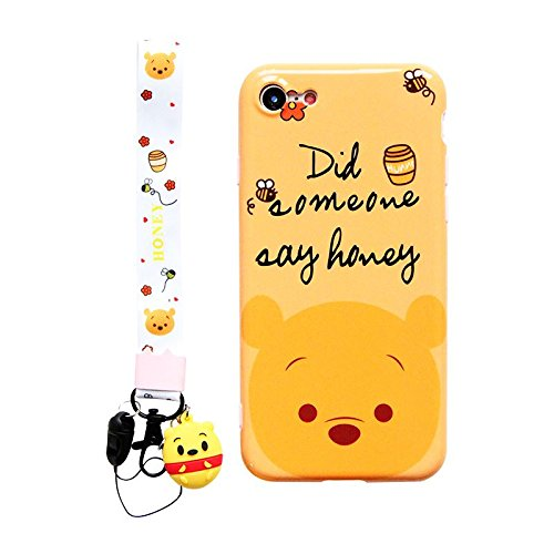separation shoes e1018 e1163 Ultra Slim Soft TPU Winnie The Pooh Bear Case With Charm Strap for iPhone 7  8 iPhone7 iPhone8 Regular Size Shockproof Shock Proof Smooth 3D Disney ...