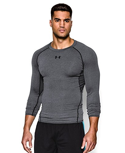 Under Armour Men's HeatGear Armour Long Sleeve Compression Shirt, Carbon Heather/Black, Large