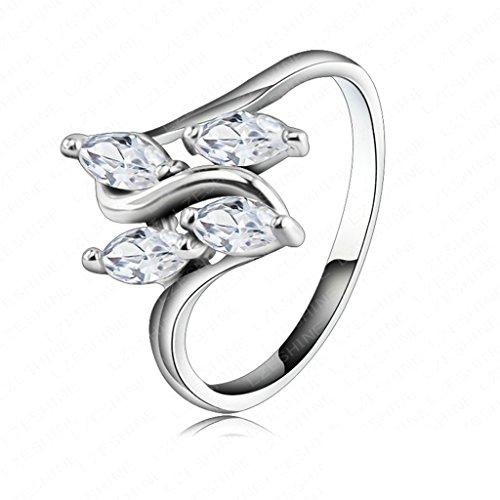 5 Pcs Alloy Diamond Leaves Rings - 6