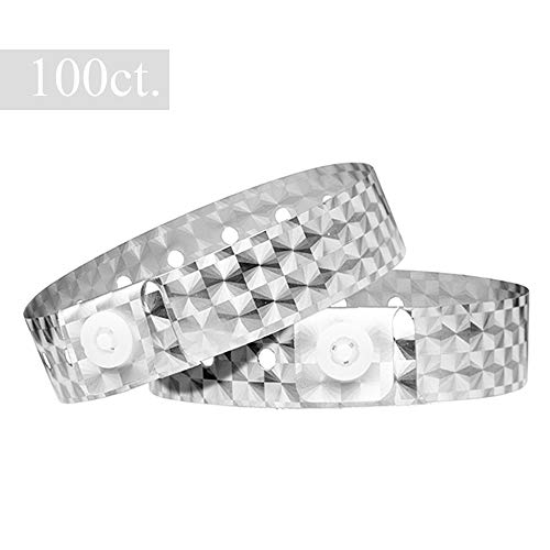 (Ouchan Holographic Plastic Wristbands Sliver - 100 Pack Vinyl Wristbands for Events Parties)